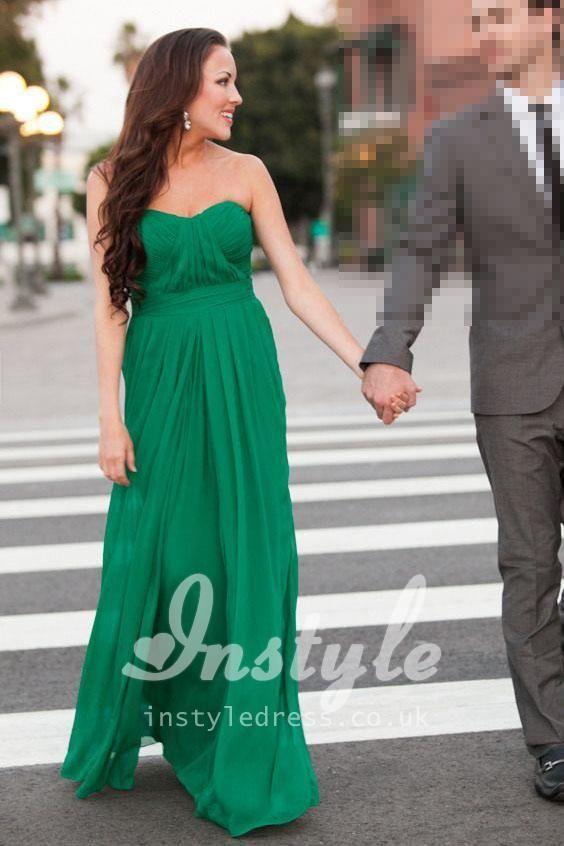green strapless sweetheart pleated long chiffon bridesmaid dress ...