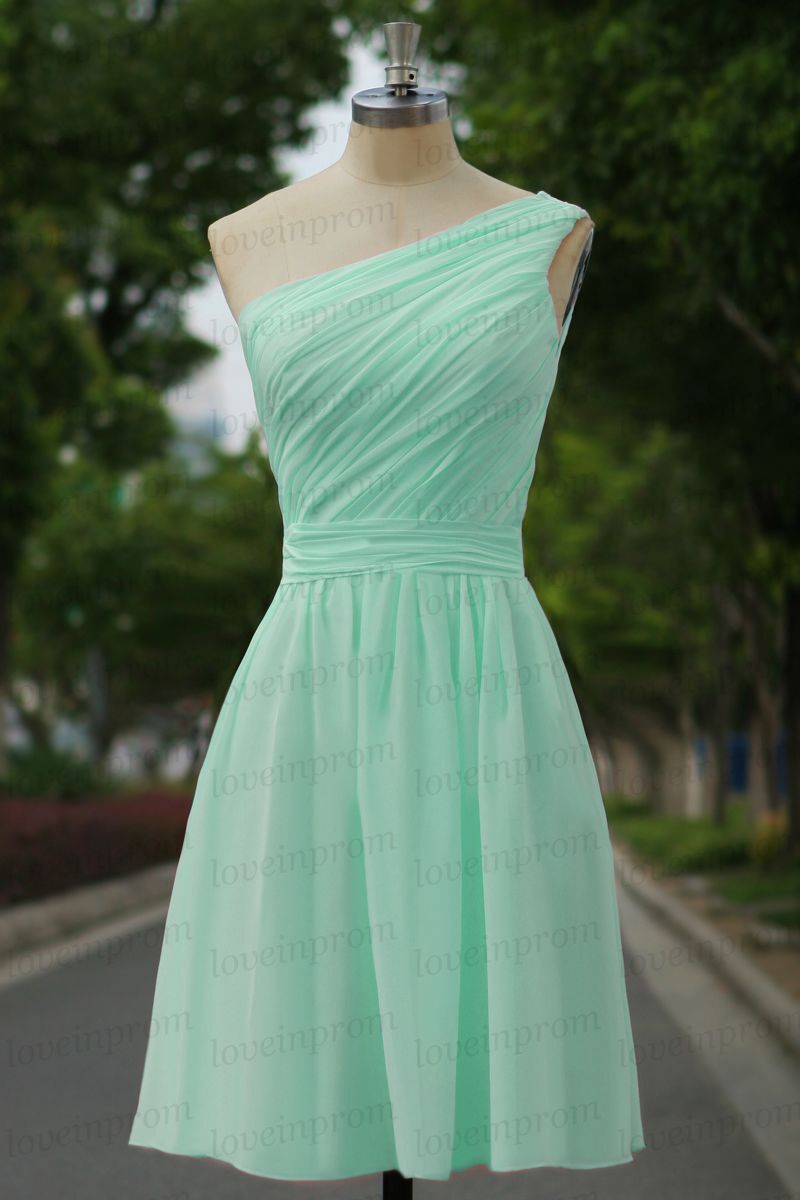 Mint bridesmaid dressone shoulder mint party by loveinprom on Etsy ...