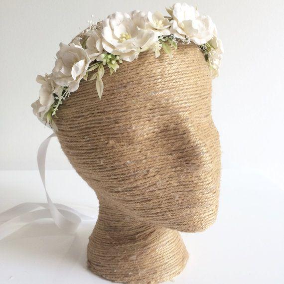 Marfil flores corona novia flor Halo blanco por OhDinaFlowerCrowns