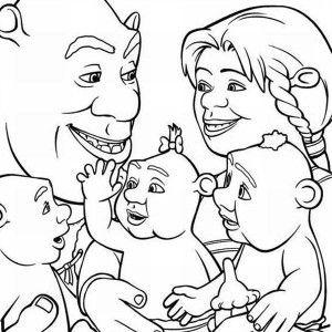 Shrek, Shrek And Family Coloring Page: Shrek and Family