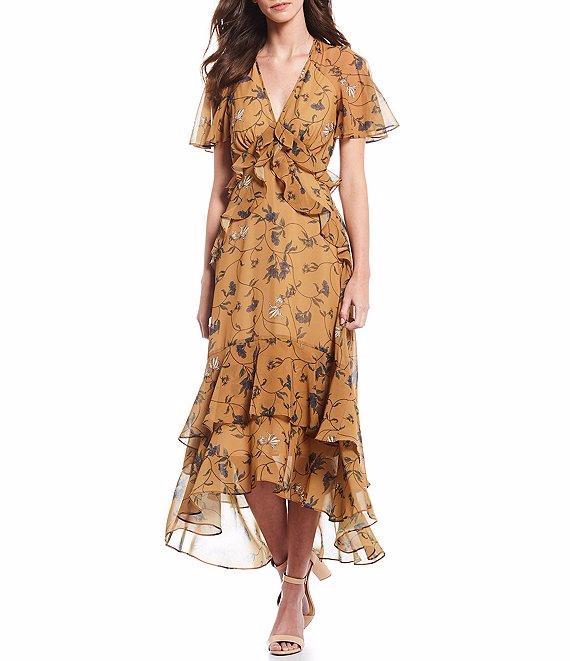 Gianni Bini Debi Tiered Ruffle Hi-Low Flounce Floral Print A-Line Midi Dress | Dillard's #weddingguestdress