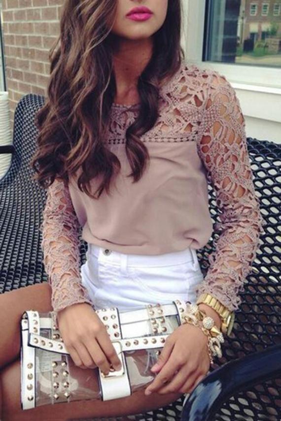 Hollow-out Lace Splicing Chiffon Long Sleeve T-shirt