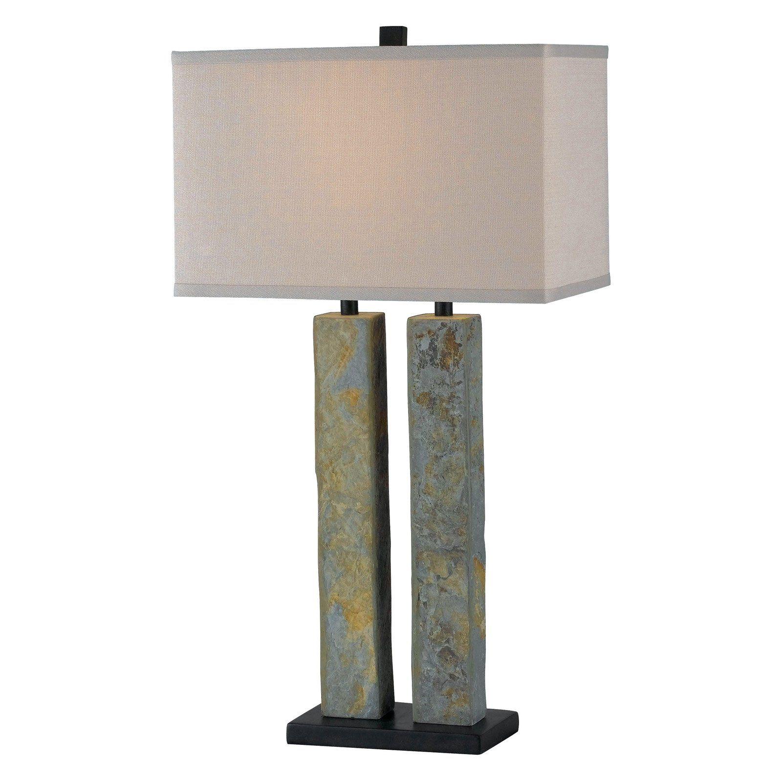 Kenroy Home Barre Table Lamp Green Slate Natural Slate Slate