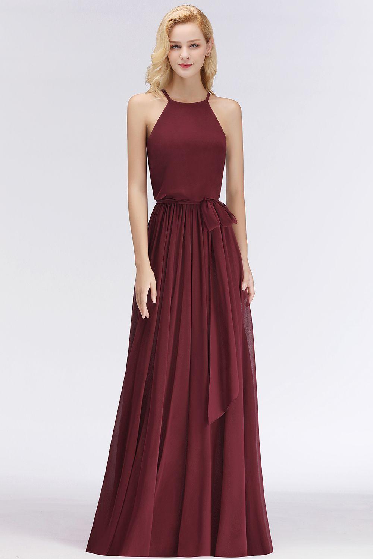 Designer Brautjungfernkleider Lang Chiffon Dunkel Rot ...