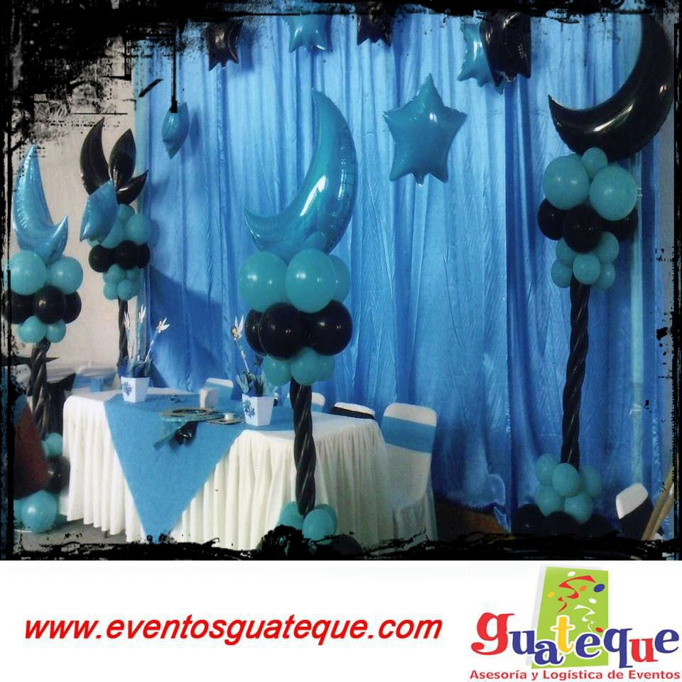 Decora tu fiesta de graduaci n con globos en color azul y - Decora con globos ...
