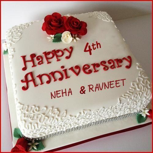 Happy 4th Anniversary Cake With Name 4th Anniversary Cake Happy