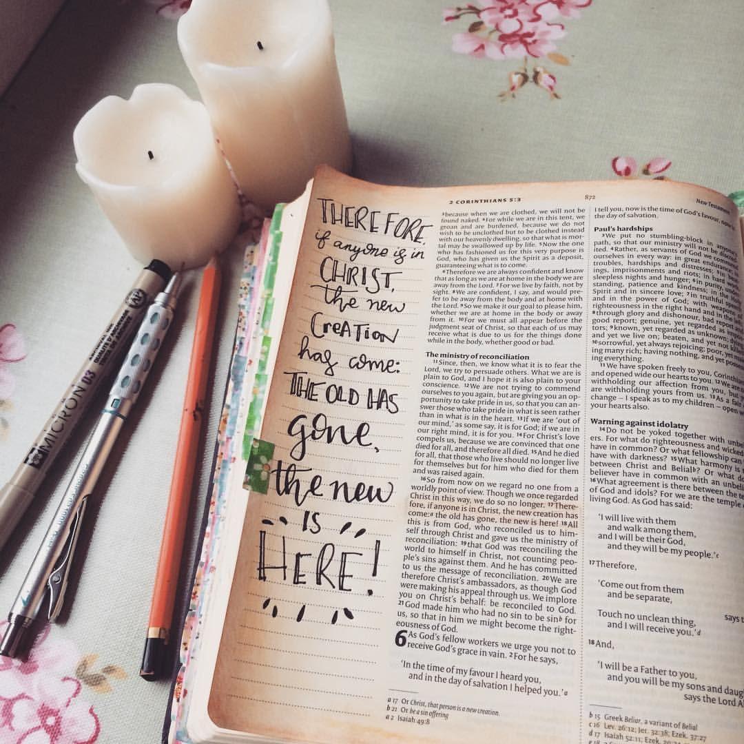 2 Corinthians 5:17  A good reminder to wake up to!  #biblejournal #biblejournaling #biblejournalingcommunity #bibleart #bibledoodles #doodles #illustratedfaith #scripture #scriptureart  #words #bible #creative #art #journal #instaart #calligraphy #lettering #handlettering #artstagram #artistsofinstagram
