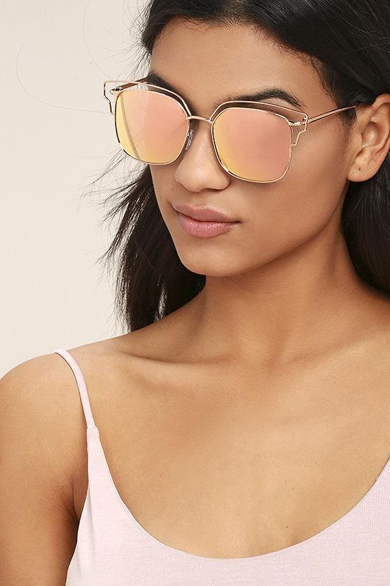 #AdoreWe #Lulus Lulus Light Years Gold and Pink Mirrored Sunglasses - AdoreWe.com