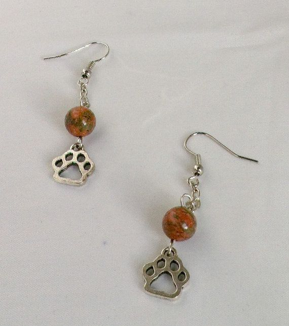 Tibetan Silver Paw and Unakite Earrings with Silver Plated Chain by KristasJewellery, $10.00