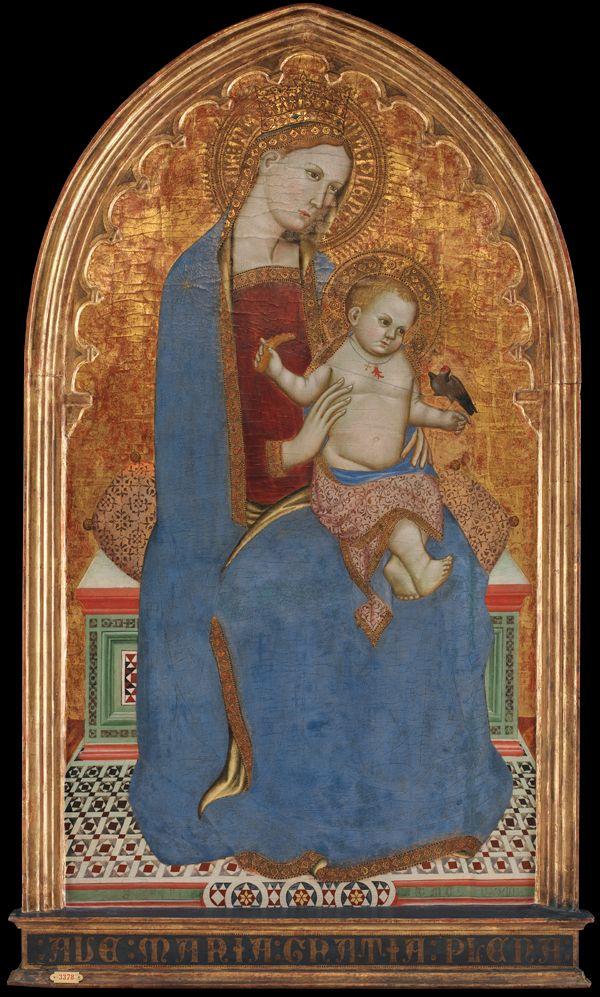 """Cecco di Pietro, """"Madonna med barnet, der leger med en stillids og holder et hirseaks i hånden"""", 1379  Statens Museum for Kunst / National Gallery of Denmark. http://www.smk.dk/index.php?id=2607"""