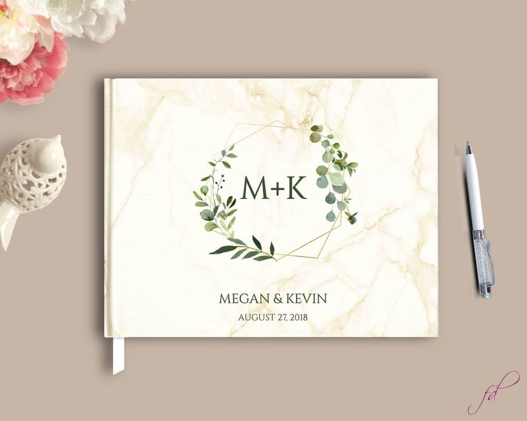 Greenery Marble Guestbook In 2019 Hardcover Guest Books Wedding