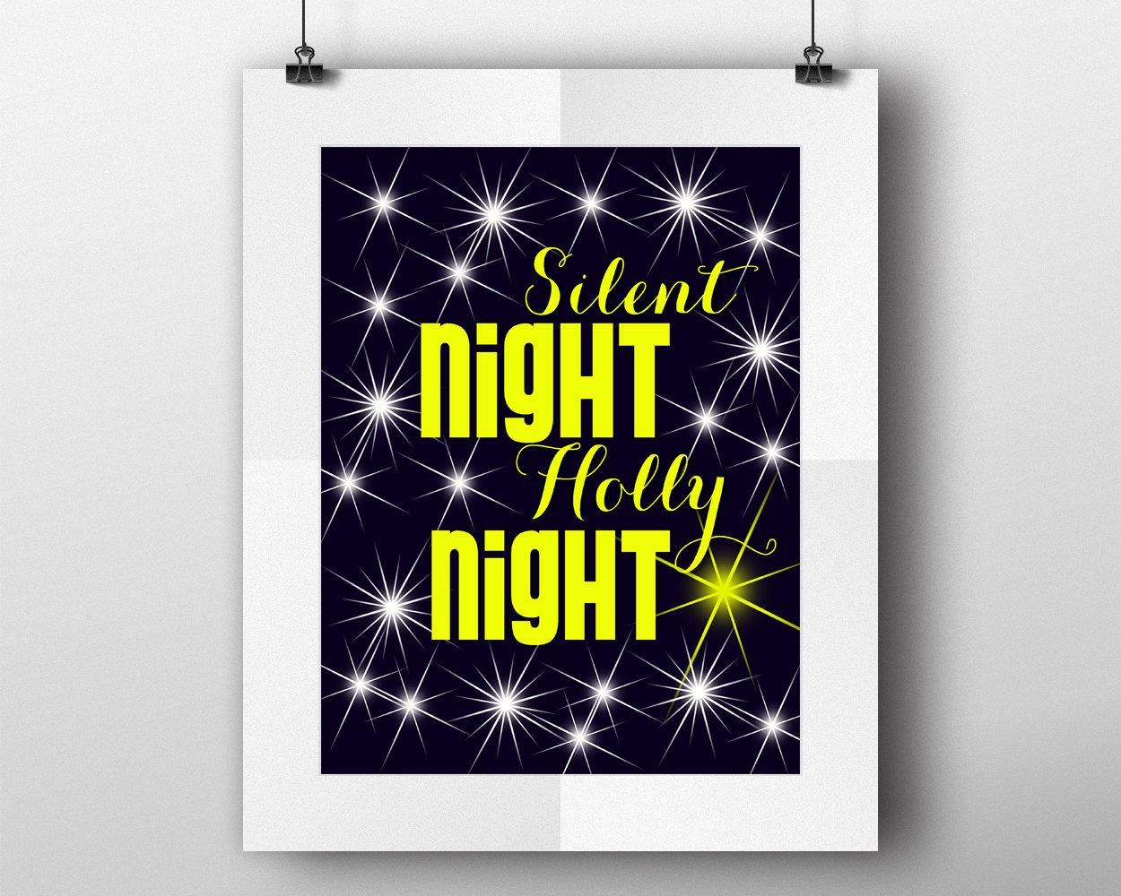 Wall Art Silent Night Holly Night Digital Print Silent Night Holly Night Poster Art Silent Night Holly Night Wall Art Print Silent Night - Digital Download #homedecorations #wallprints #giftforhim #giftforher