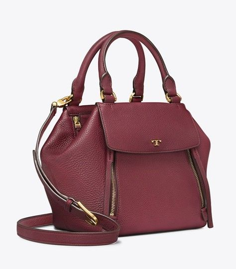 b25a6ec20fb Half-Moon Claret Leather Satchel in 2019 | Tory Burch Collection at ...