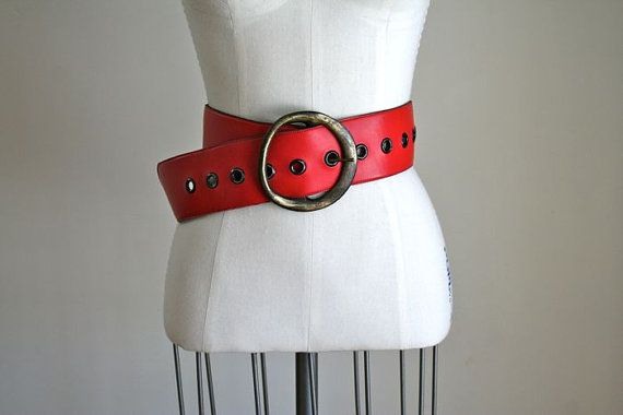 Vintage 60s 70s Wide Belt Brass Buckle Mod Red Belt Etsy Wide Belt Brass Buckle Belt