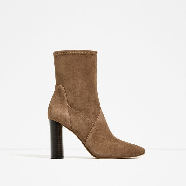 HIGH HEEL STRETCH LEATHER ANKLE BOOTS - View all-SHOES-WOMAN   ZARA... (525 ILS) ❤ liked on Polyvore featuring shoes, boots, ankle booties, short boots, leather bootie, leather booties, leather boots and high heel booties