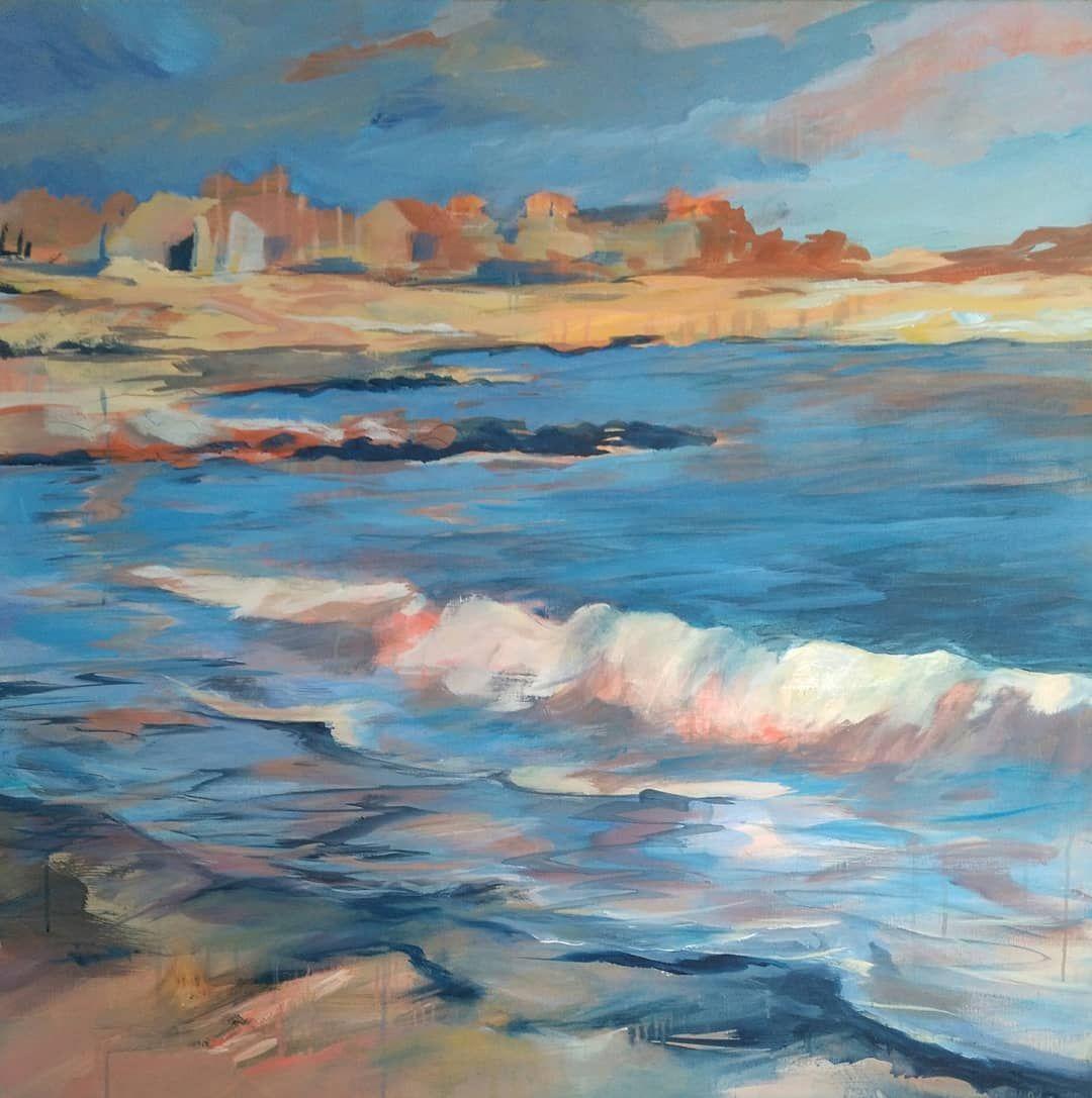 abendlicht acryl auf leinwand 100x100 cm 2020 acrylmalerei astridkromer mee kustenliebe kunstler kustenblick kusten malerei acrylbilder foto 150x100 online bestellen günstig