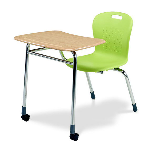 Vintage Rare Student Wooden Chair And Attached Desk Combo School