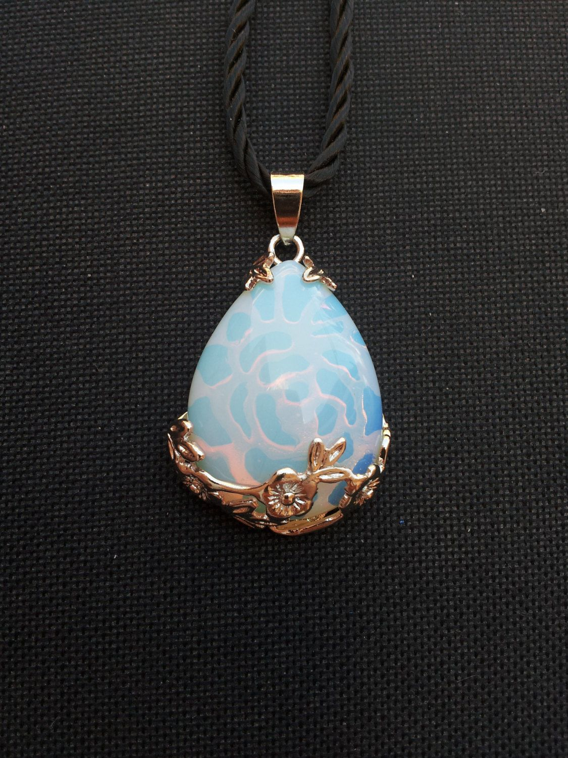 cancer heart pendant opalite