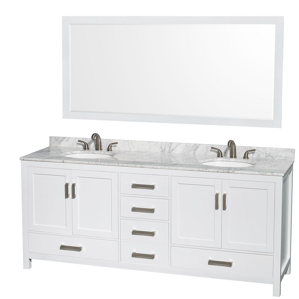 Berkeley 80 Double Bathroom Vanity By Wyndham Collection White
