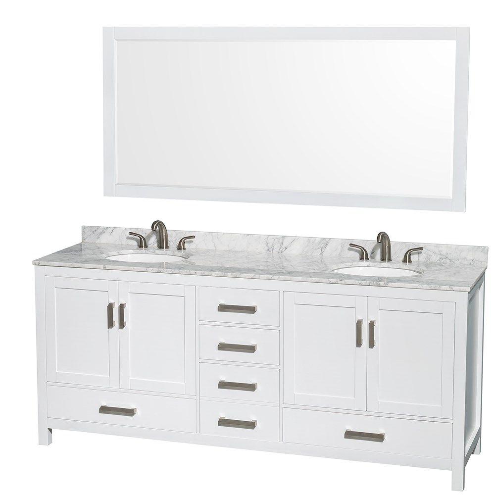 1799 - saranda 80 inch double sink bathroom vanity white