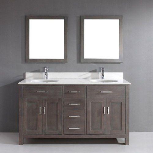 gray double sink bathroom vanity. Art Kelia 63 inch Double Sink Bathroom Vanity French Gray Finish