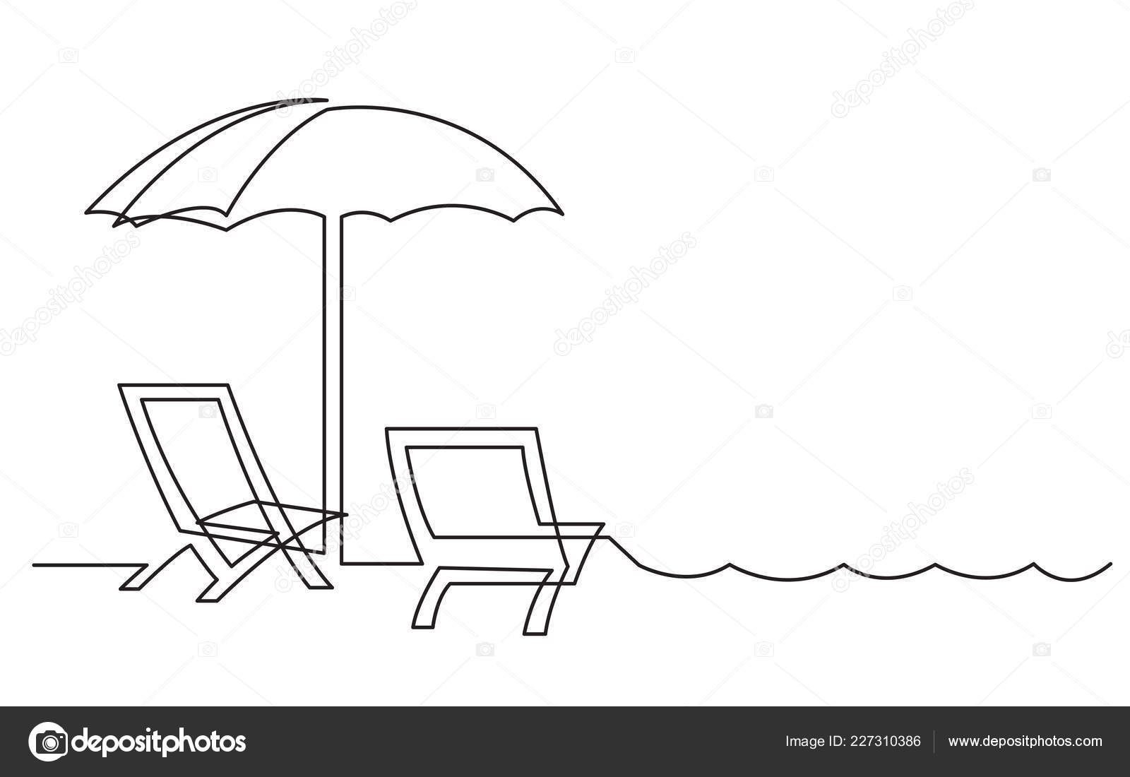Continuous Line Drawing Beach Chairs Line Art Design Continuous Line Drawing Line Drawing