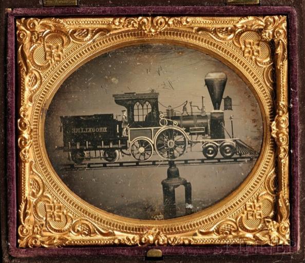 19th Century Daguerreotype of a Folk Art Locomotive Weathervane ...