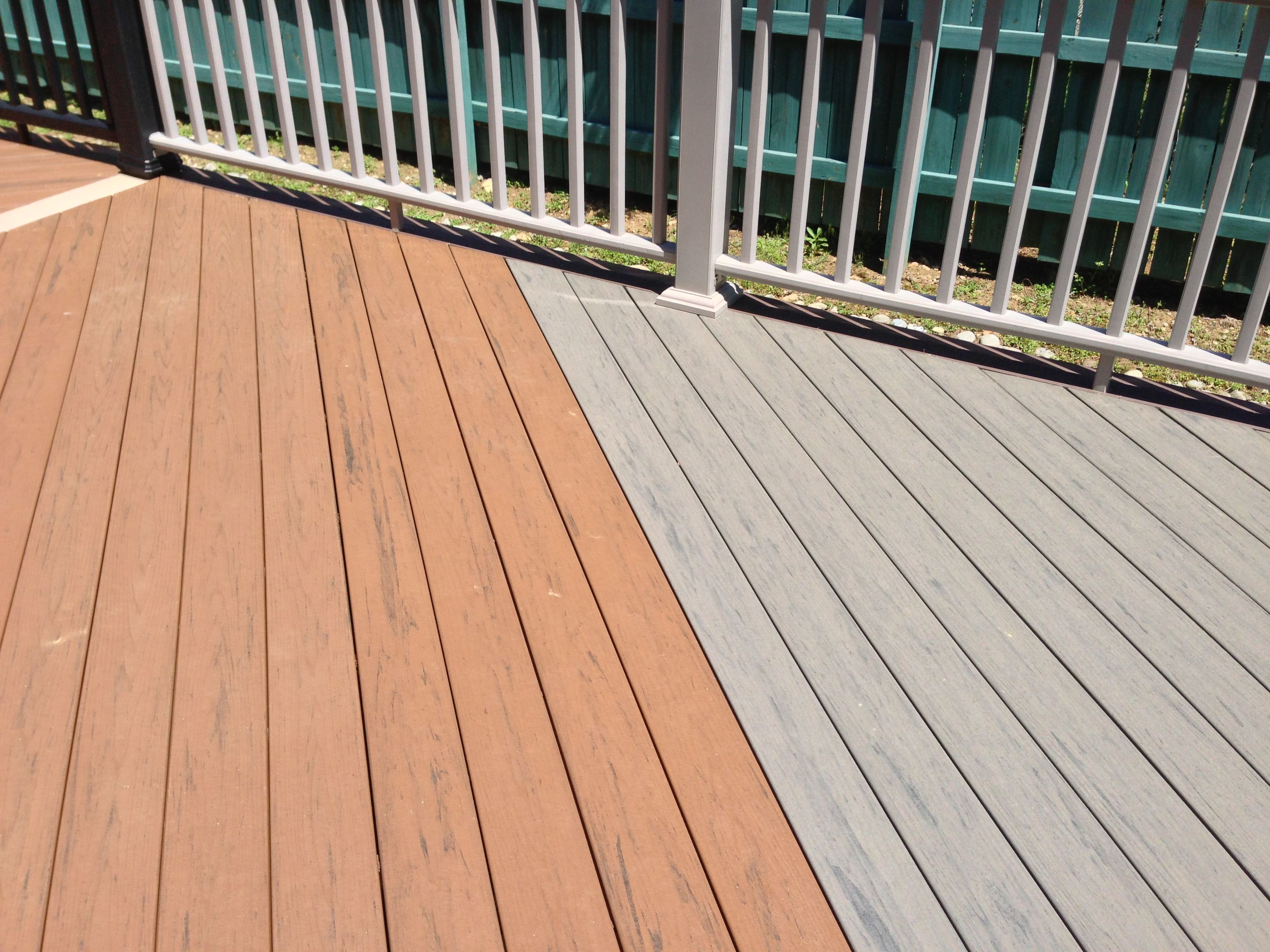 Timbertech Silver Maple And Brown Oak In Stock Deck