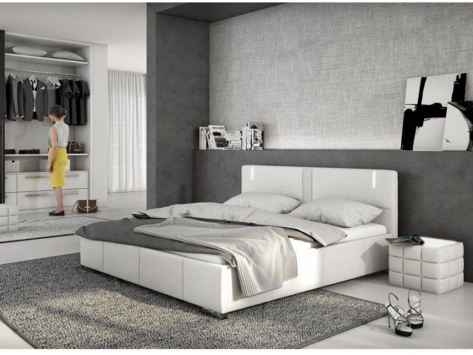 lit soren 160x200 cm simili blanc avec leds - Lit 160x200 Avec Led