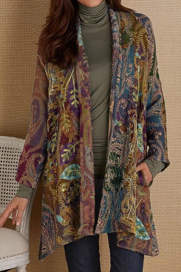 Women Cotton Vintage Sari Floral Fabric Hippie Bohemian Designer Plus Size Jackets Coat