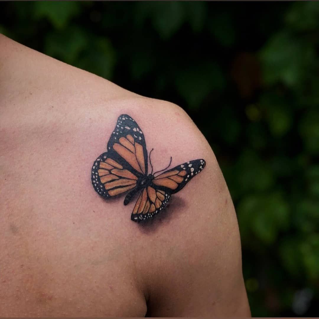 Brandon Fuller Butterfly Tattoo On Shoulder Tattoo Shop Crown