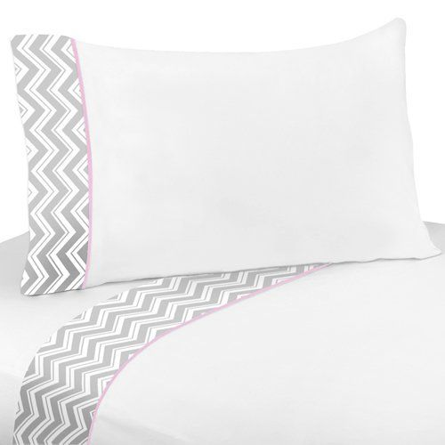 4 Pc Queen Sheet Set For Pink And Gray Chevron Bedding Collection By Sweet Jojo Designs Grey