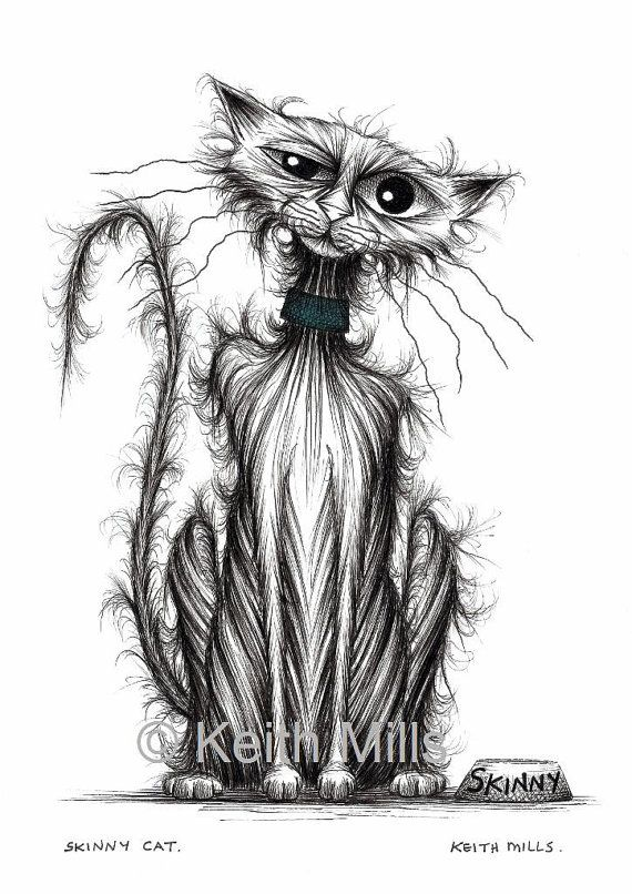 Skinny cat Print download by KeithMills on Etsy, £3.00