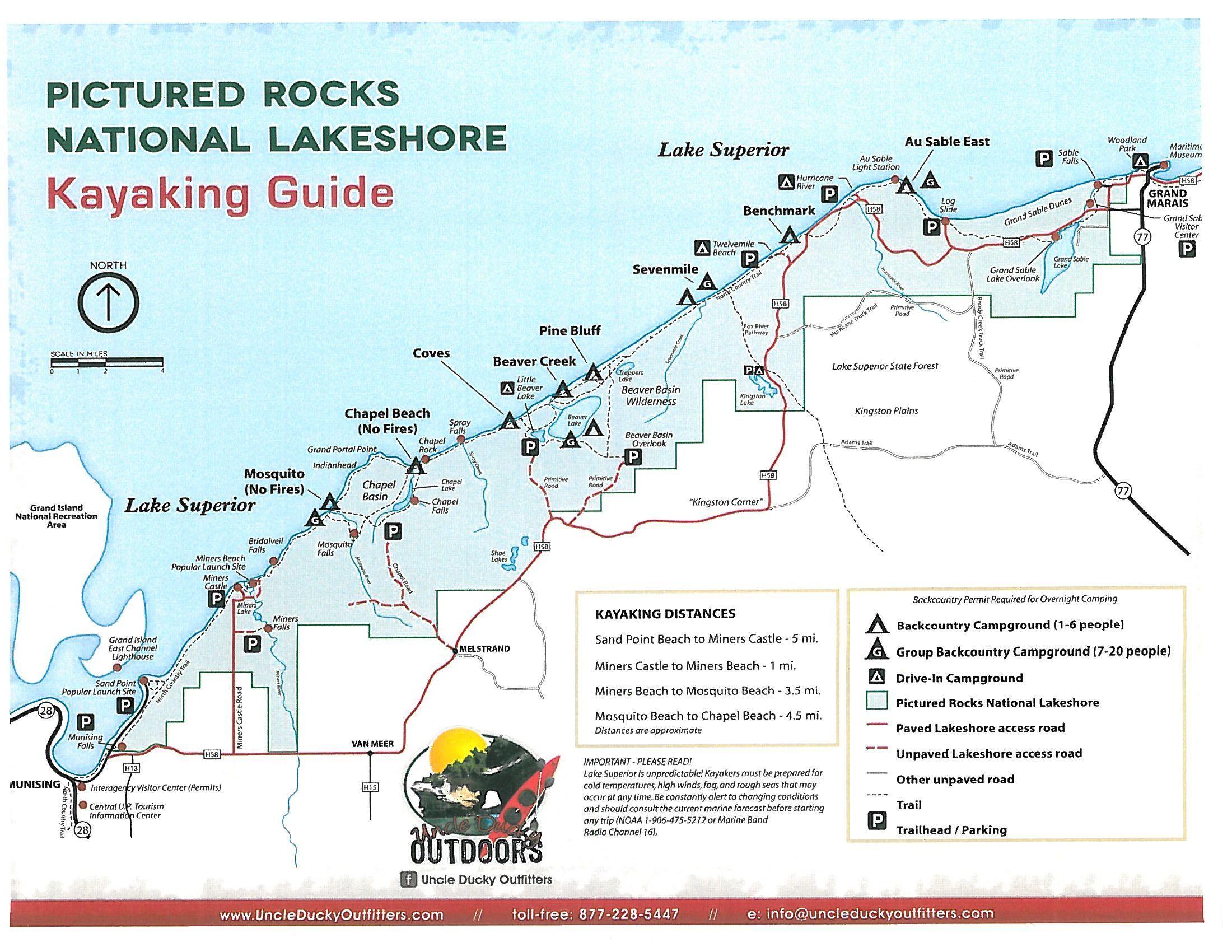 Map of Pictured Rocks National Park Upper Michigan  Kayaking