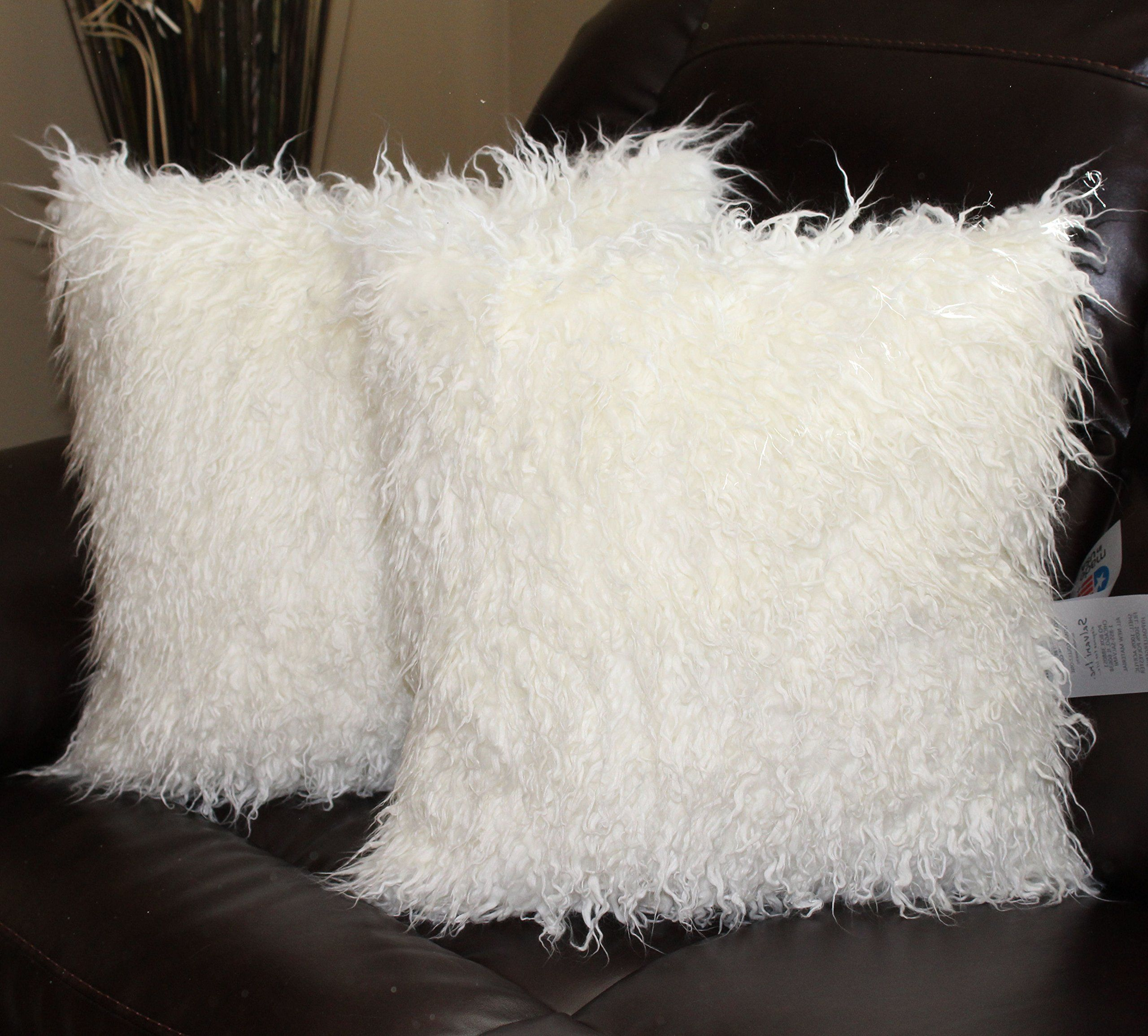 Curly Mongolian White Faux Fur 18 X 18 In Throw Pillow Set Of 2