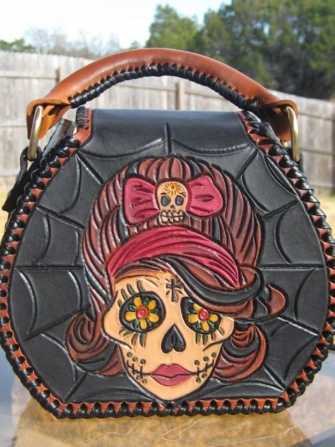 Personalised Denim Purse With Gothic Sugar//Candy Skull//Flower//Cross