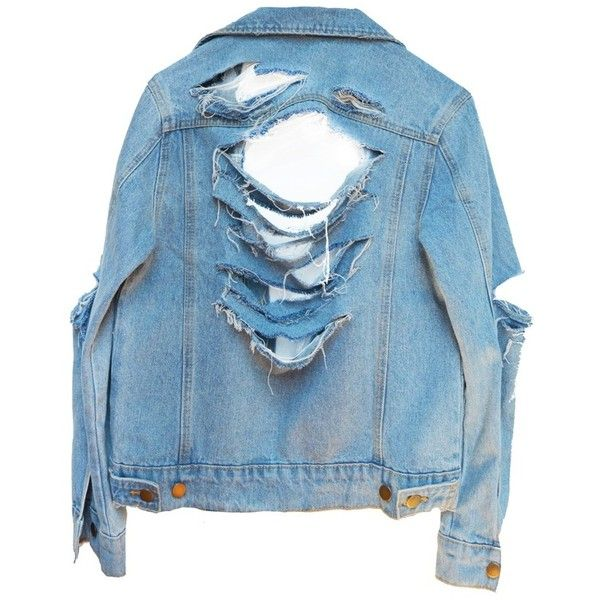 SO RIPPED DENIM JACKET ($120) ❤ liked on Polyvore