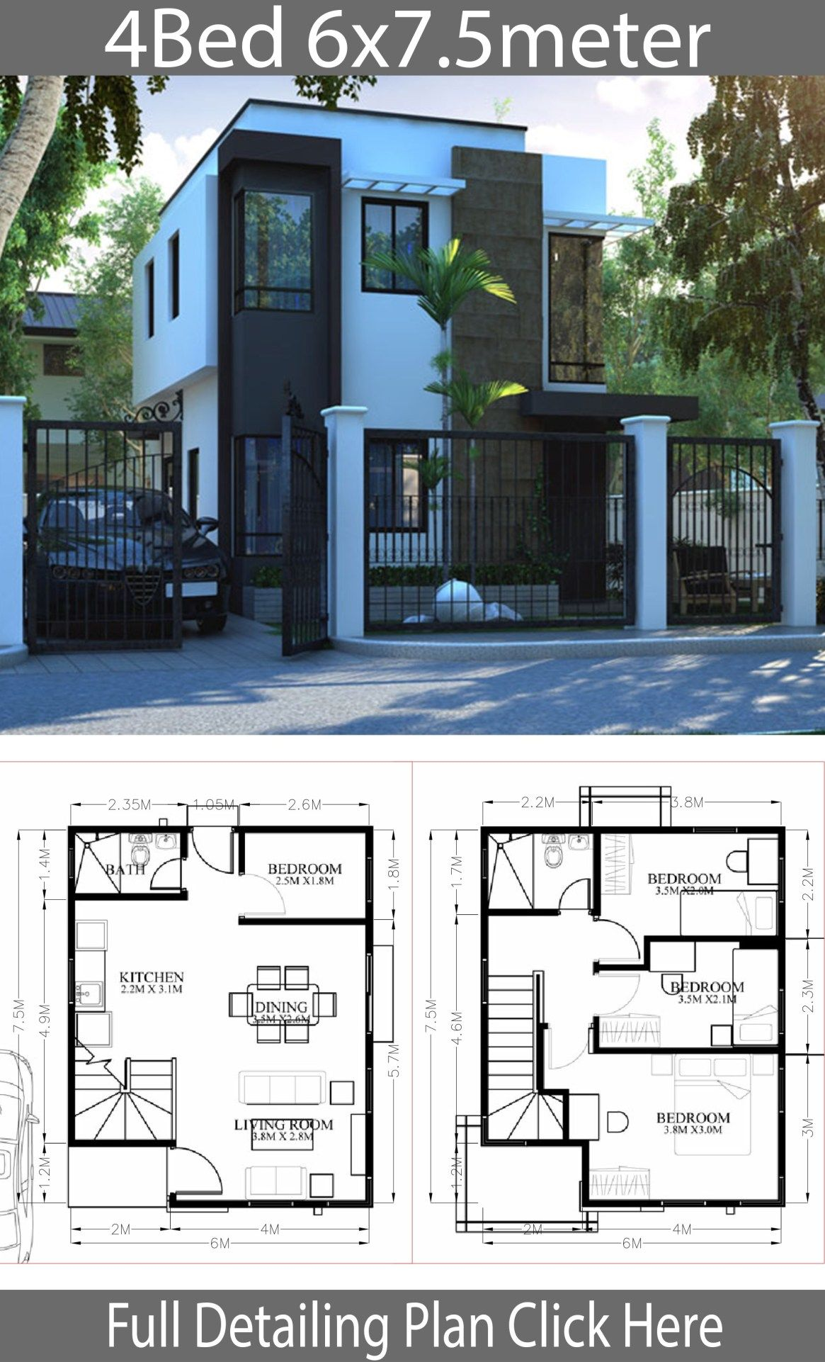 Small Home Design Plan 6x7 5m With 4 Bedrooms Modern House Design 4 Bedroom House Designs Bedroom House Plans