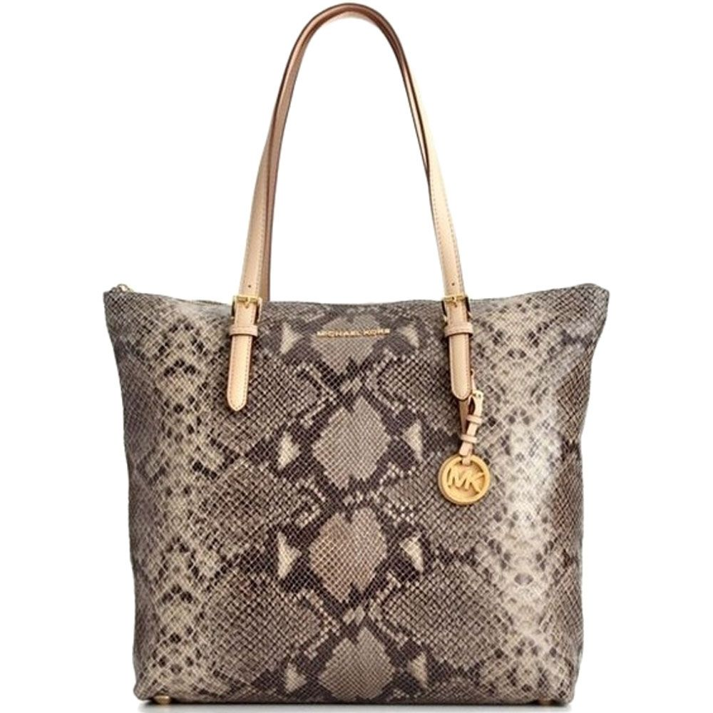 Michael Kors Jet Set Large North/South Top Zip Tote, Dark Sand