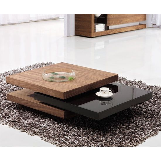 Iva coffee tables in walnut and black gloss living room - Walnut and black gloss living room furniture ...