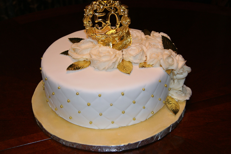 50th wedding anniversary cake Yellow cake with vanilla