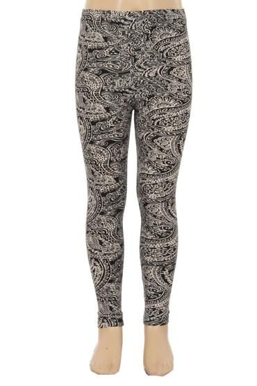 12e40a607d634 Girl's Paisley Printed Leggings Black/White: S/L - MomMe and More ...