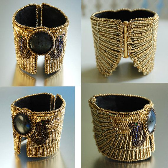 Serpent Ceremony In Indigo Egyptian Jewelry Ancient Influenced Cuff Bracelet Bead Embroidered Purple And Gold