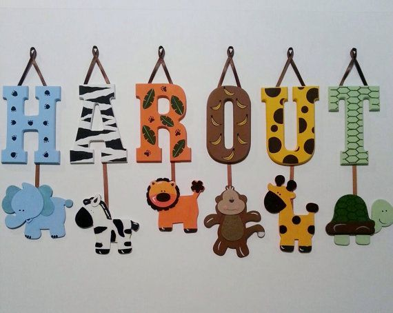 4 LETTER NAME  Individually Hanging Block Letters with adorable