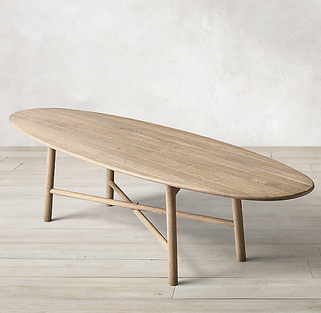 Surfboard Oak Oval Dining Table In 2020 Oval Table Dining