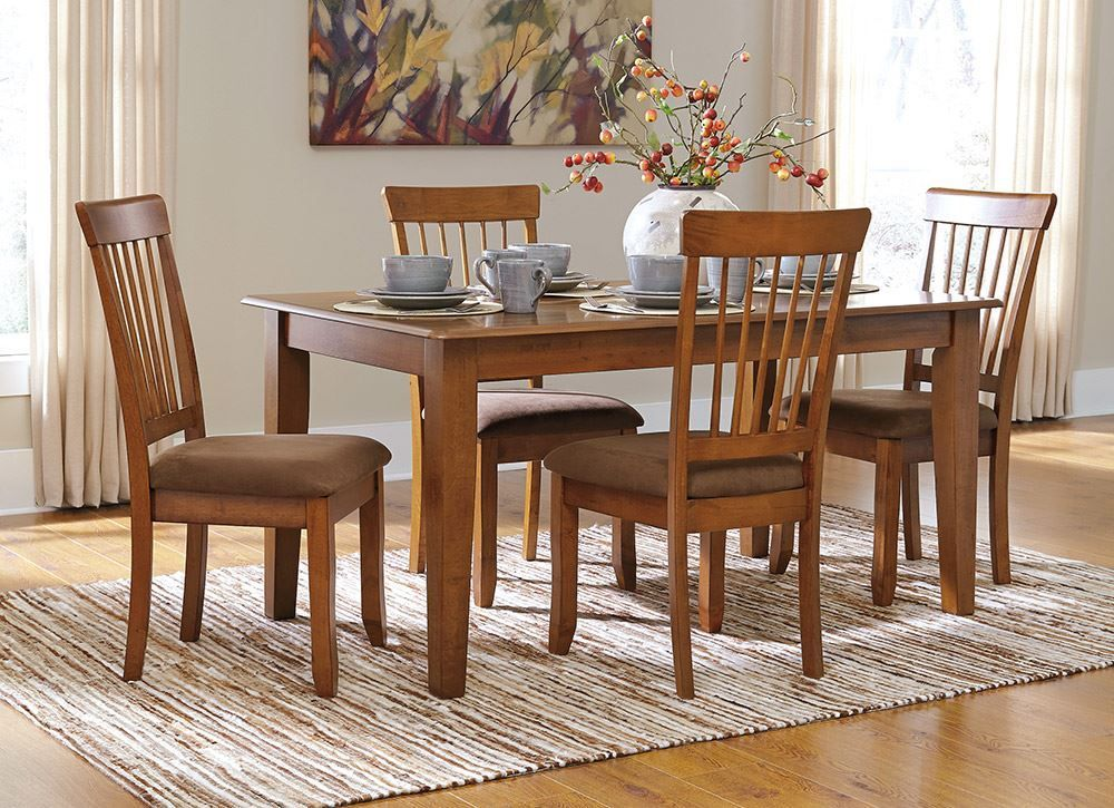 Berringer 60 Inch Hickory Table With Four Chairs Farmhouse