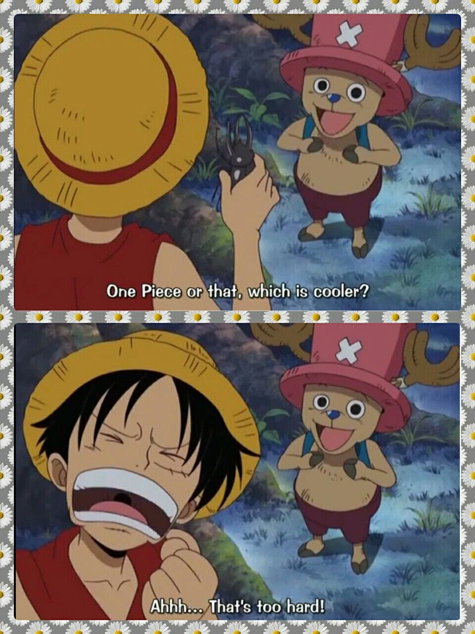 Luffy, Chopper, text, quote, funny, stag beetle, One Piece