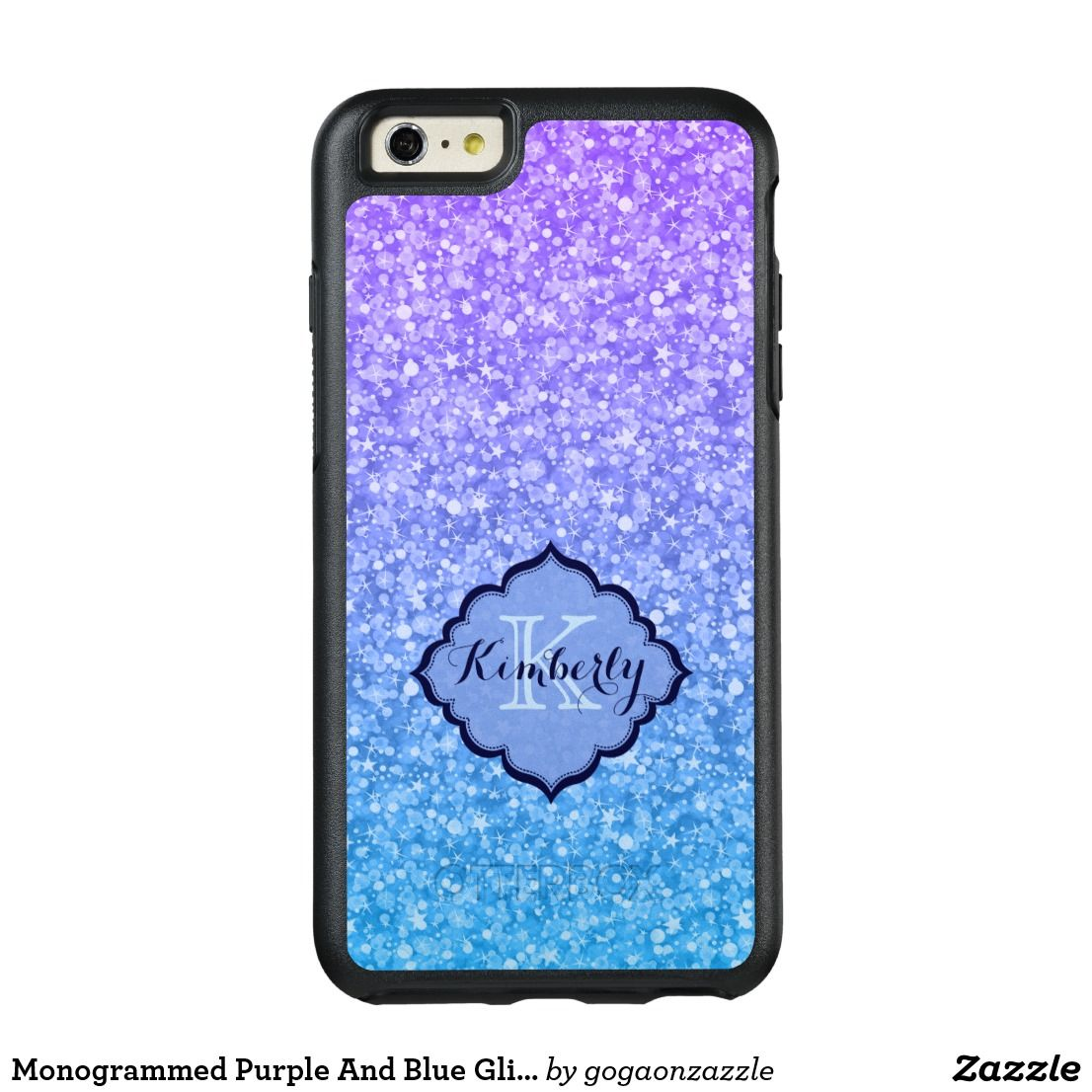 Monogrammed purple and blue glitter otterbox iphone case