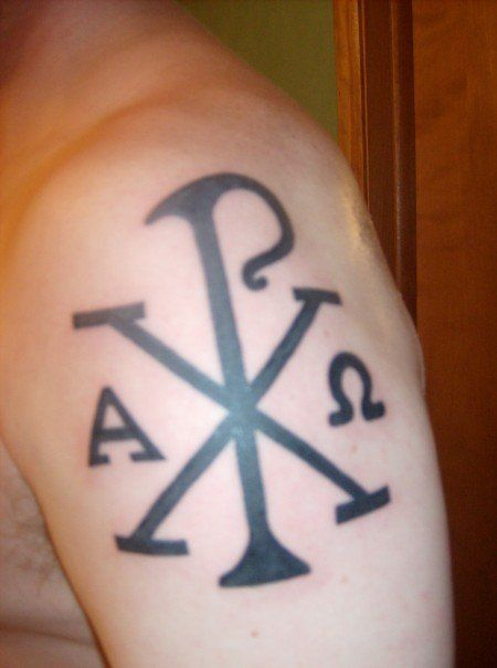 chi rho....the x and p are the first greek letters in christ and and alpha omega are for the beginning and end.