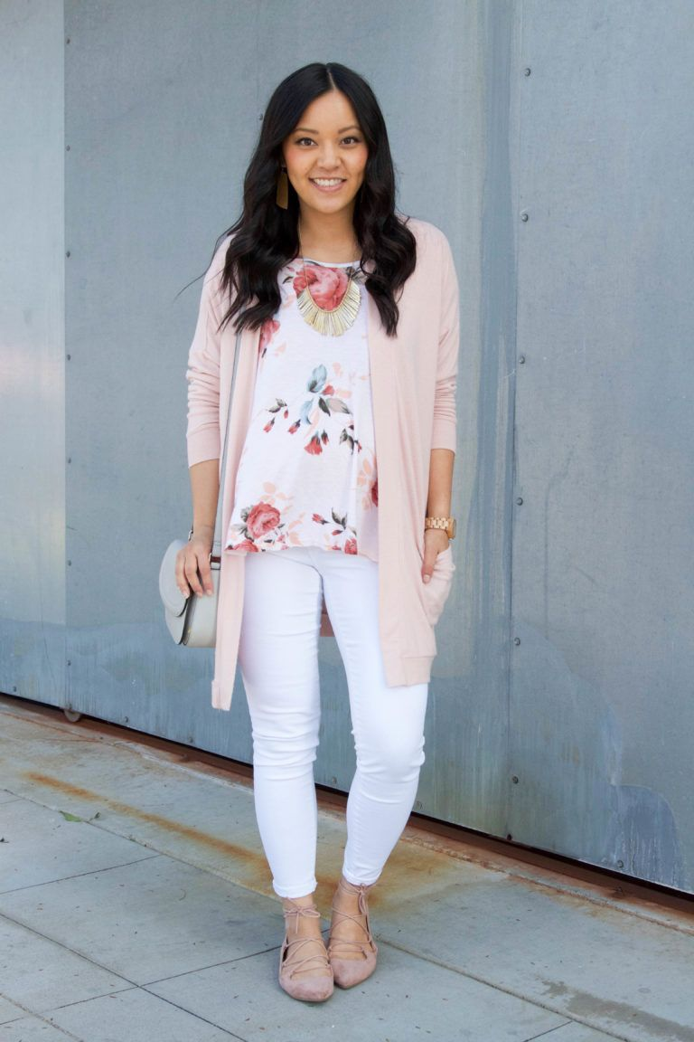 202f861fd56 Floral top + Blush Cardigan + Lace up Flats + Statement Necklace